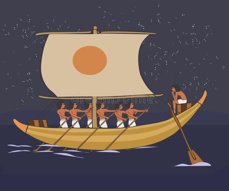 Nave di navigazione antica al fumetto di vettore del mare di notte illustrazione vettoriale