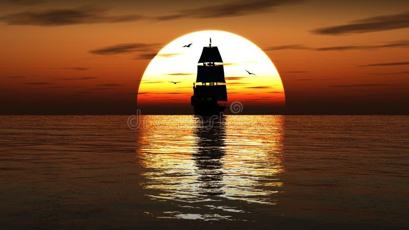 Nave di navigazione antica al tramonto 3d rendono illustrazione di stock