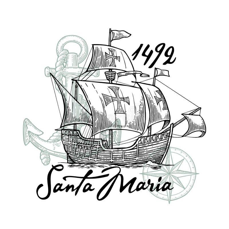 Nave di navigazione che galleggia sulle onde del mare Caravella Santa Maria royalty illustrazione gratis