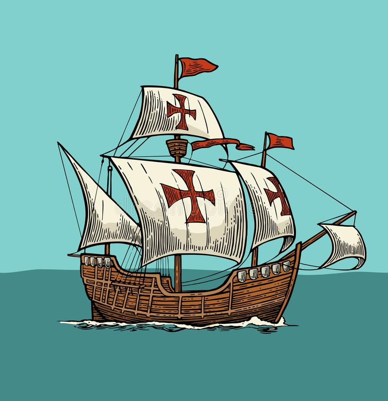 Nave di navigazione che galleggia sulle onde del mare Caravella Santa Maria illustrazione vettoriale