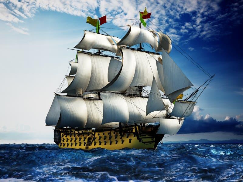 Nave di navigazione d'annata al mare sotto il chiaro cielo illustrazione 3D illustrazione vettoriale