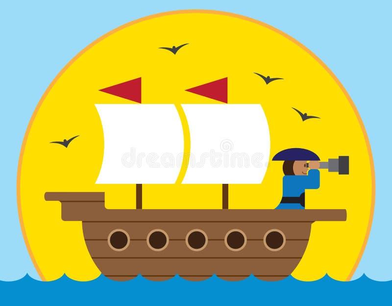 Nave di navigazione del fumetto illustrazione di stock