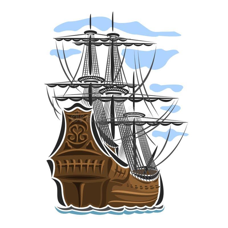 Nave di navigazione di logo di vettore illustrazione vettoriale