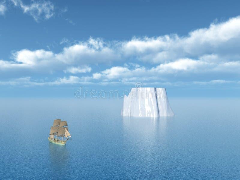 Nave di navigazione ed iceberg royalty illustrazione gratis