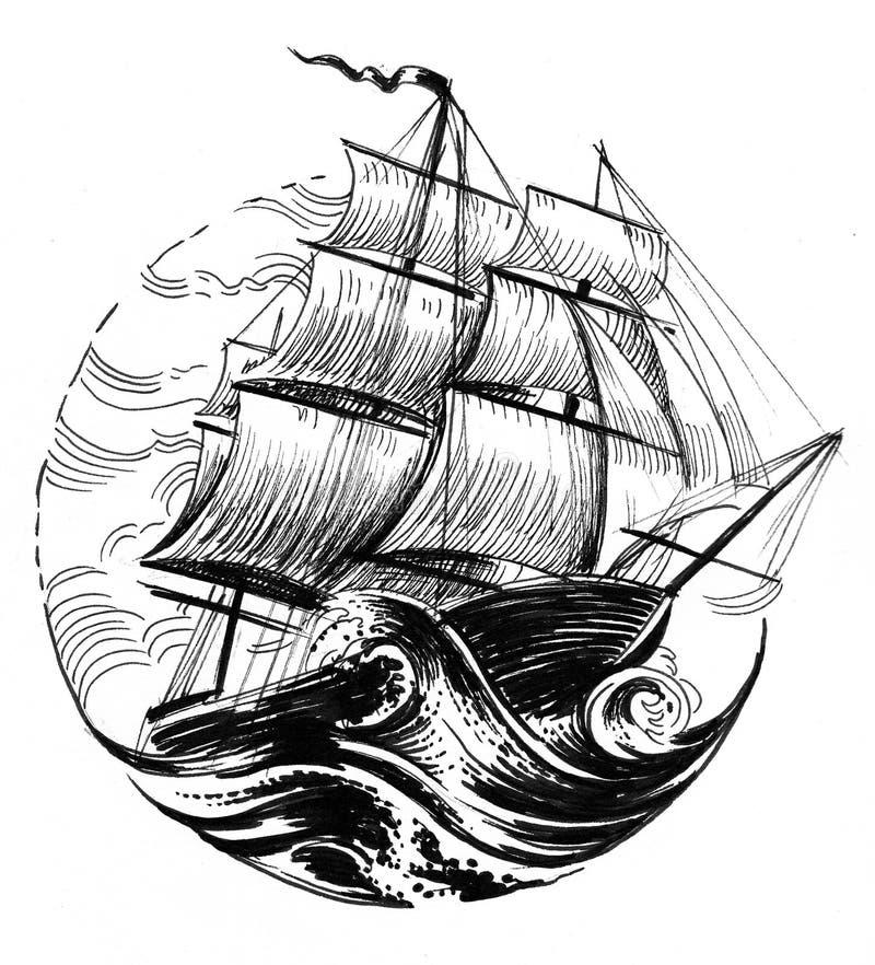 Nave di navigazione in mare tempestoso illustrazione vettoriale