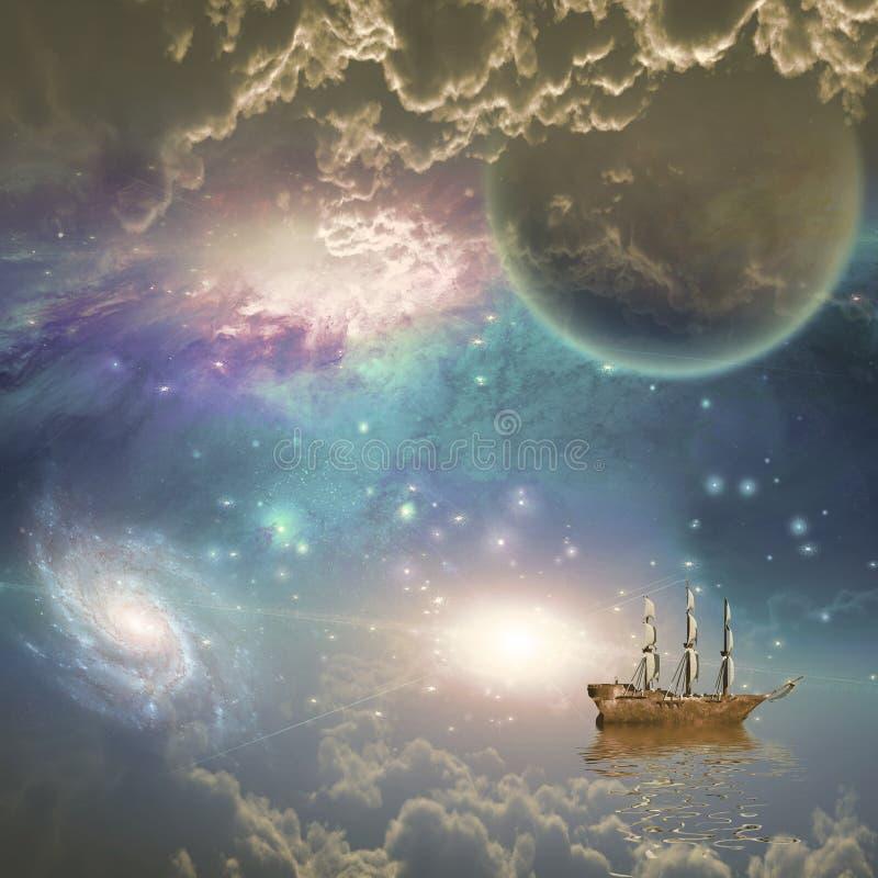 Nave di navigazione nello spazio illustrazione vettoriale