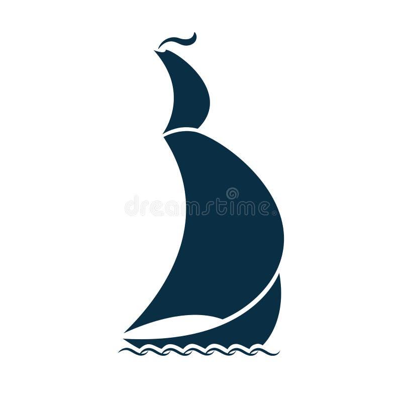 Nave di navigazione sulle onde Logo per un'agenzia di viaggi illustrazione vettoriale