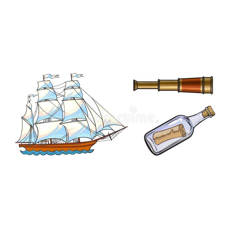 Nave di navigazione, telescopio, messaggio in bottiglia illustrazione di stock