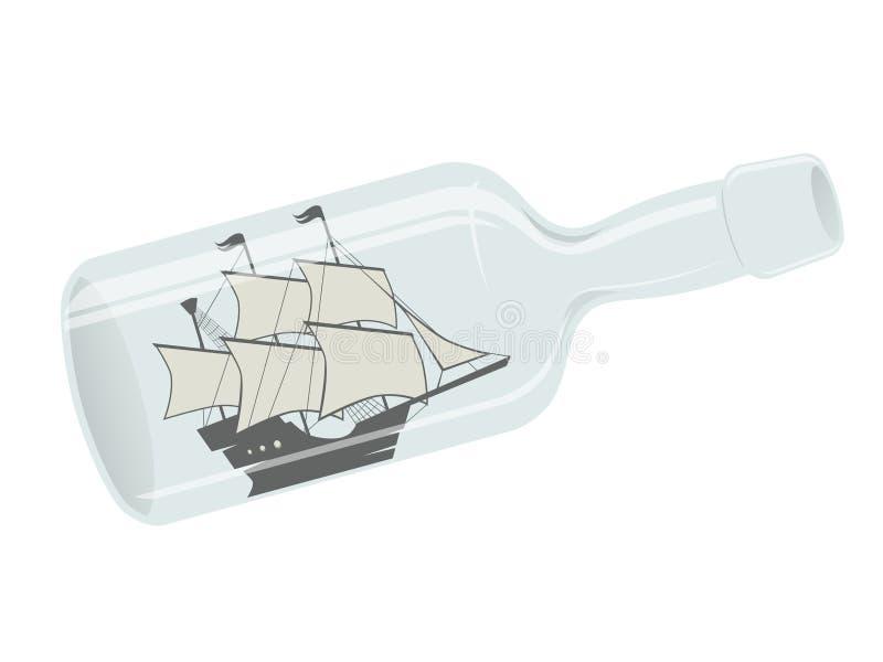 Nave di navigazione in una bottiglia royalty illustrazione gratis