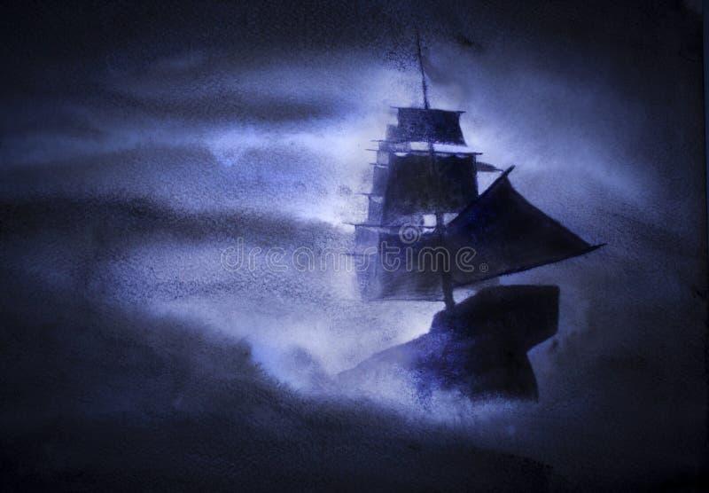Nave di navigazione in una tempesta fotografie stock libere da diritti