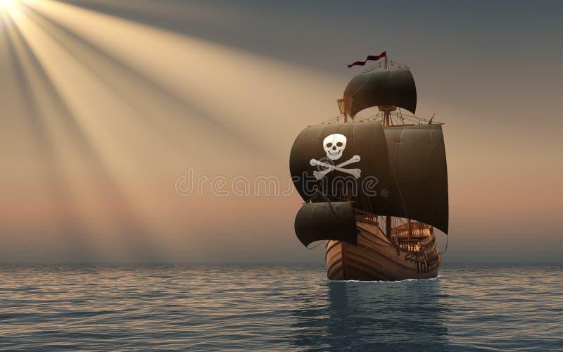 Nave di pirata nei raggi del Sun royalty illustrazione gratis