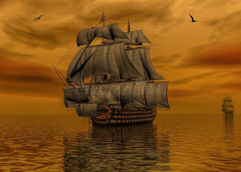 Nave di pirata sulla rappresentazione calma dell'acqua 3d illustrazione di stock