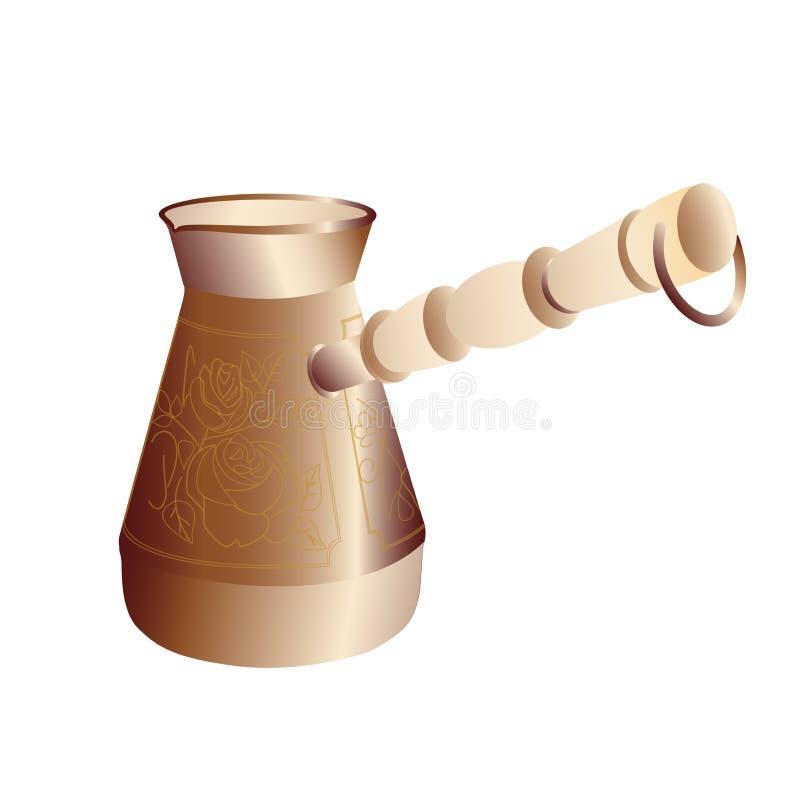 Nave di rame per produrre caffè nero naturale illustrazione vettoriale