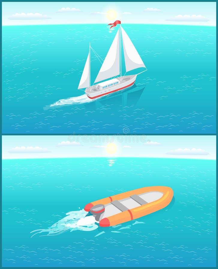 Nave di soccorso e nave gonfiabili con tela bianca illustrazione di stock