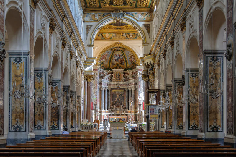 Nave of the Duomo - Amalfi stock images