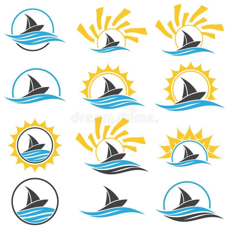 Nave e sole di navigazione Logo dell'yacht club illustrazione vettoriale