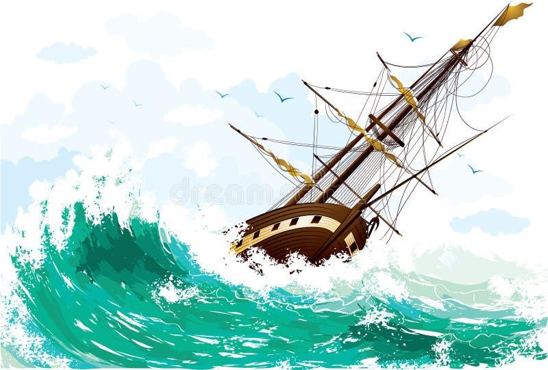 Nave en el mar ilustración del vector