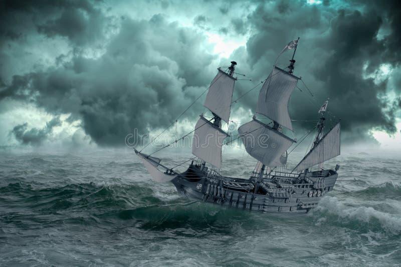 Nave en el mar cuando la tormenta comienza ilustración del vector