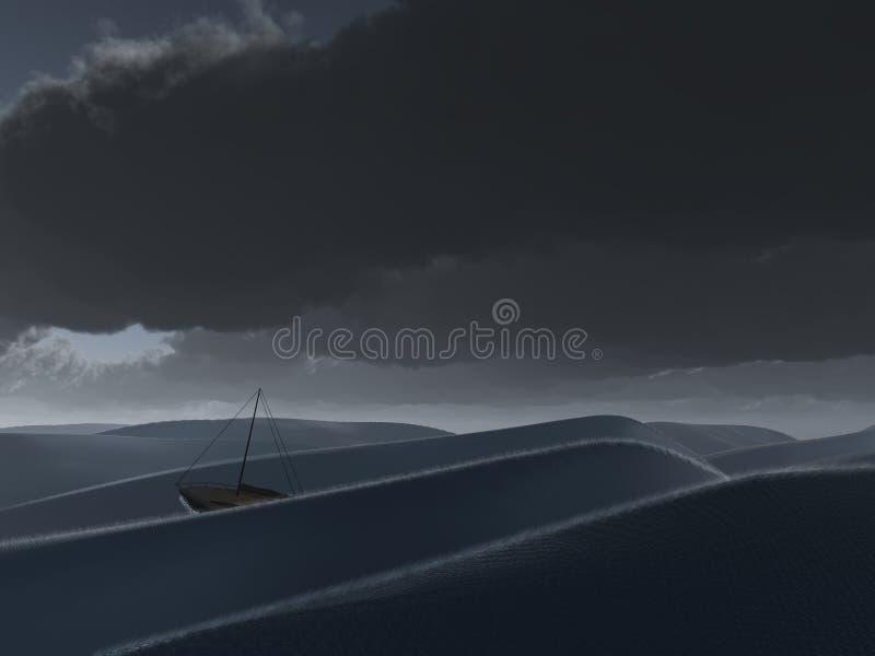 Nave en el mar tempestuoso ilustración del vector