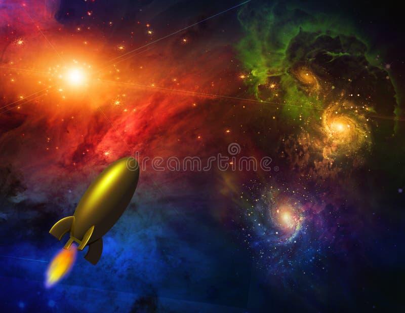 Nave en espacio stock de ilustración