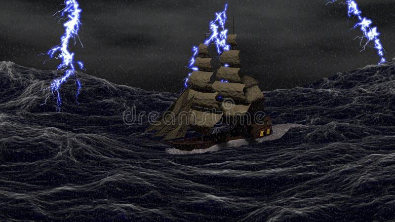Nave en un mar tempestuoso stock de ilustración