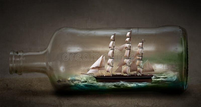 Nave en una botella ilustración del vector