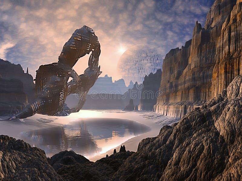 Nave espacial abandonada causada um crash no mundo distante ilustração do vetor