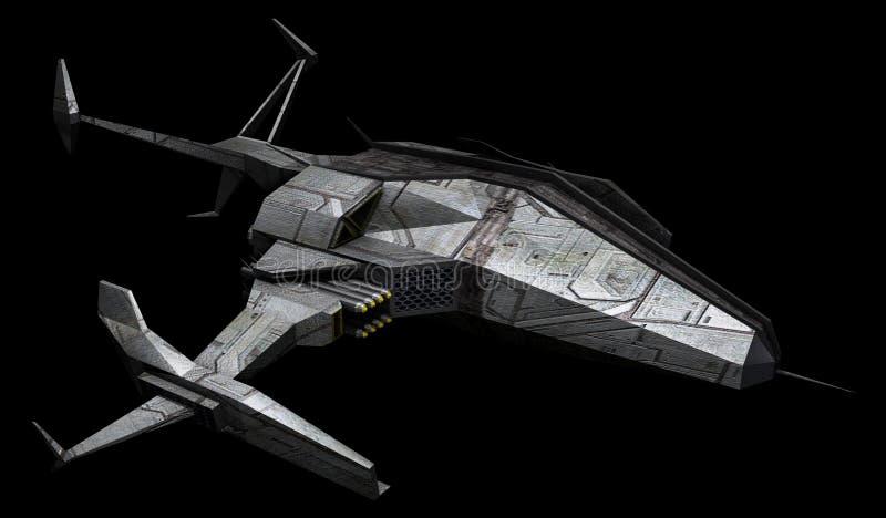 Nave espacial aislada en un fondo negro ilustración del vector