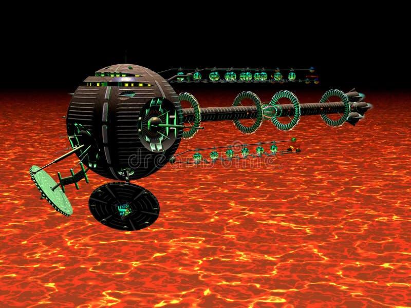 Nave espacial caliente ilustración del vector