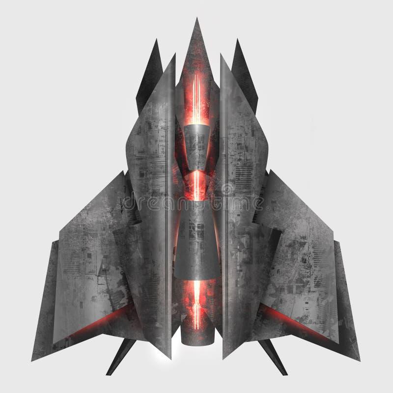 Nave espacial cinzenta futurista do metal ilustração royalty free