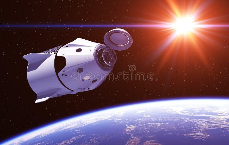 Nave espacial comercial en los rayos de Sun rojo ilustración del vector