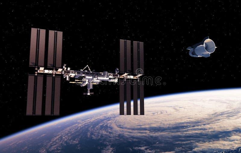 Nave espacial comercial y estación espacial internacional en espacio libre illustration