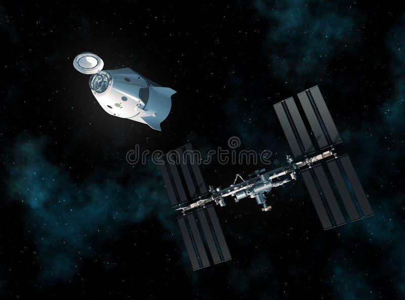 Nave espacial comercial y estación espacial internacional en espacio stock de ilustración