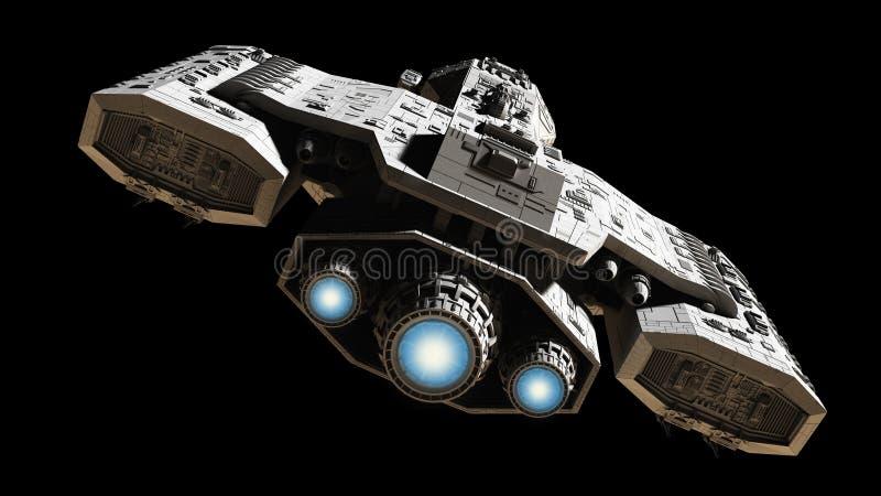 Nave espacial con resplandor azul del motor libre illustration