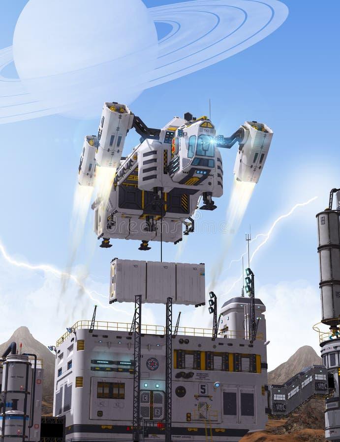 Nave espacial da carga do conceito da ficção científica ilustração stock