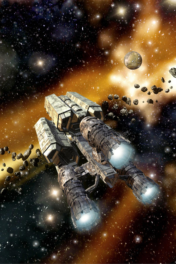 Nave espacial da carga no campo asteroide ilustração do vetor