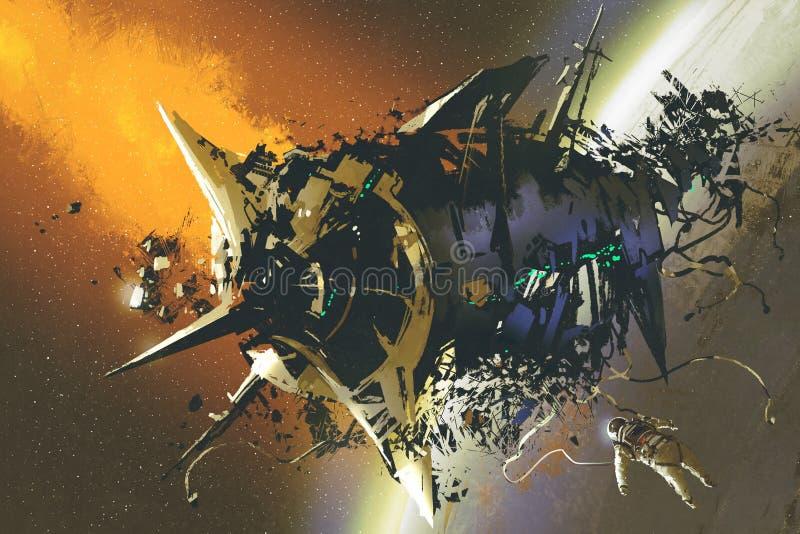 A nave espacial danificada e o astronauta inoperante que flutuam no espaço ilustração royalty free
