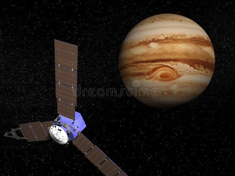 Nave espacial de Juno perto de Jupiter - 3D rendem ilustração do vetor