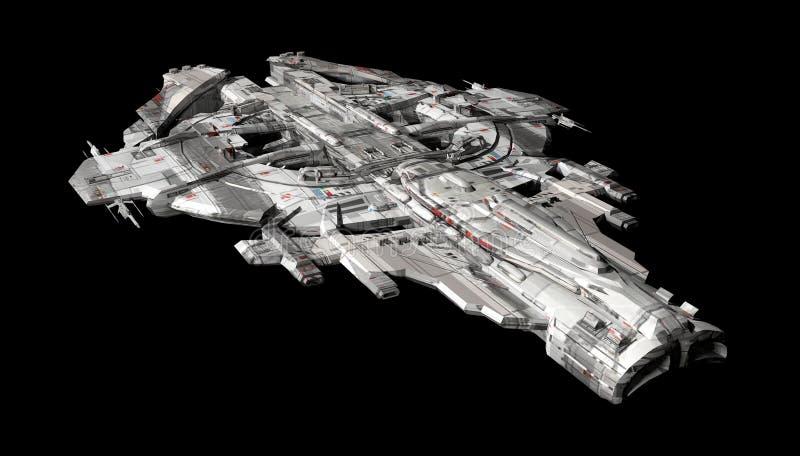 Nave espacial de la nave espacial aislada en un fondo negro ilustración del vector