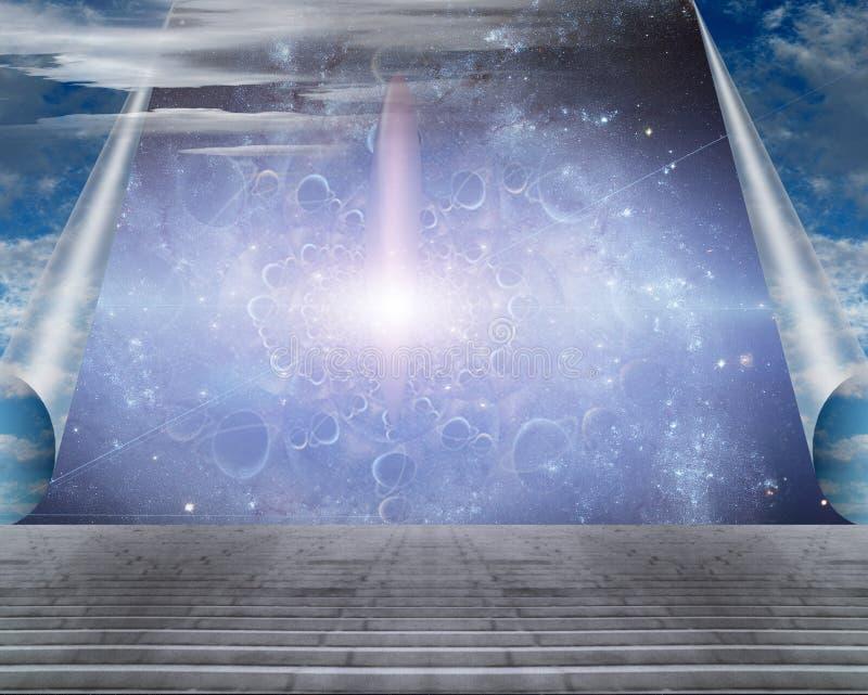 Nave espacial detrás de las cortinas del cielo stock de ilustración