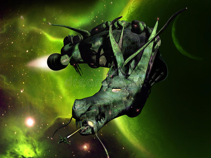 Nave espacial do dragão ilustração royalty free