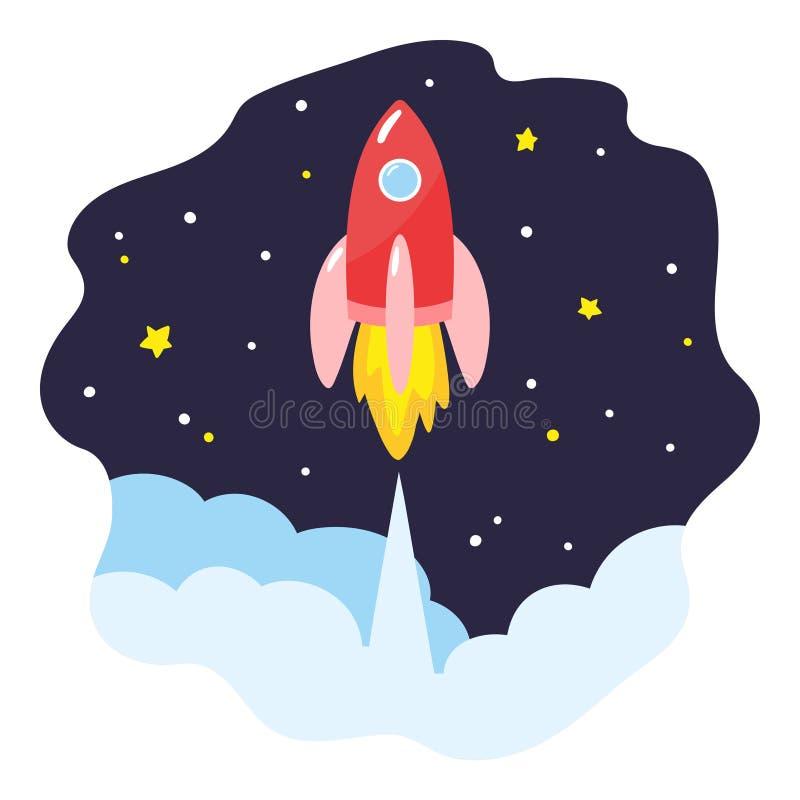 Nave espacial do lançamento no espaço O foguete vermelho dos desenhos animados sobe acima ilustração stock