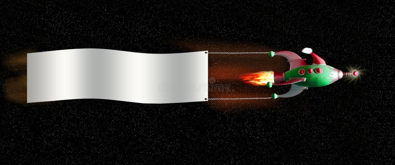Nave espacial do Natal com bandeira imagens de stock