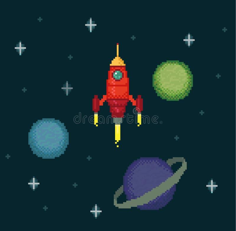 Nave espacial do pixel no espaço estrelado ilustração stock