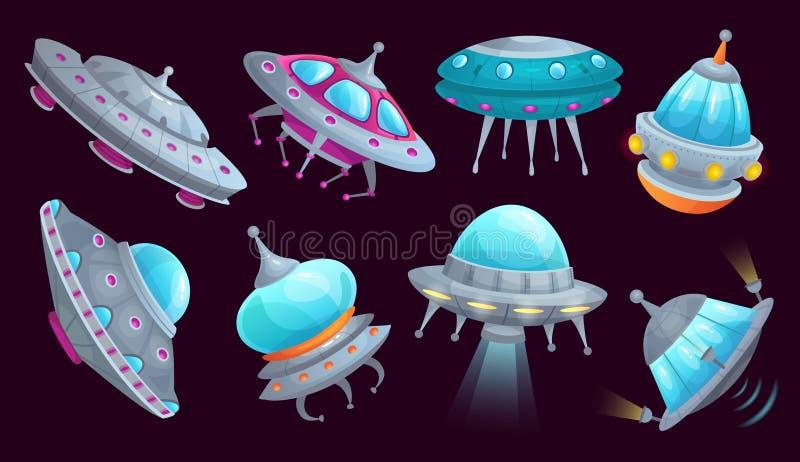 Nave espacial do UFO dos desenhos animados O veículo futurista da nave espacial estrangeira, invasores do espaço envia e grupo is ilustração stock