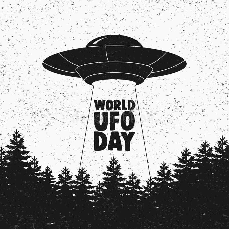Nave espacial do voo do UFO Dia do UFO do mundo Pires de voo Vetor ilustração royalty free