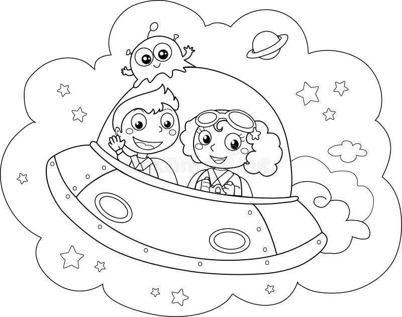 Nave espacial dos desenhos animados fotografia de stock