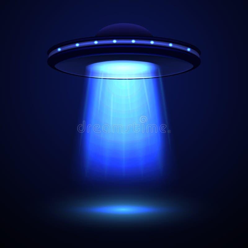 Nave espacial dos estrangeiros ou UFO detalhado realístico Vetor ilustração stock