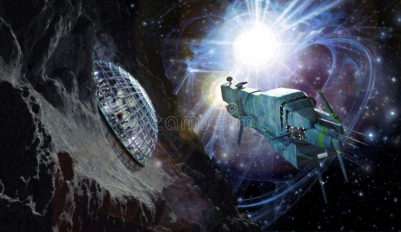 Nave espacial e asteróide ilustração do vetor