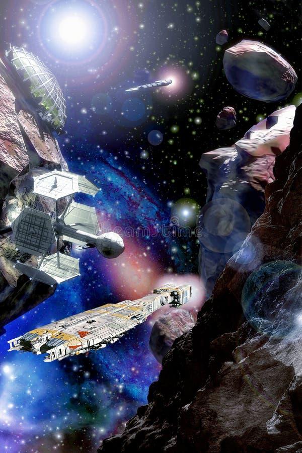 Nave espacial e campo asteroide ilustração stock
